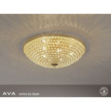 Diyas Ava Ceiling 6 Light French Gold/Crystal