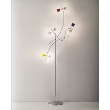 Barcelona Floor Lamp - 8 Light, Polished Chrome, Coloured Glass