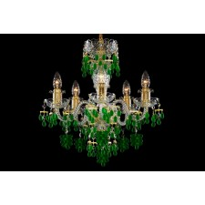 Bohemian BCC05VG Gold Crystal Chandelier with Grape-Shaped Trimmings - 5-Light