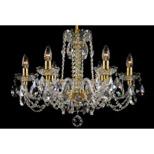 Bohemian BCC06NBG Gold Crystal Chandelier - 6-Light