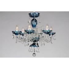 Bohemian BCC06SPS Azure Crystal Chandelier with Swarovski Trimmings - 6-Light