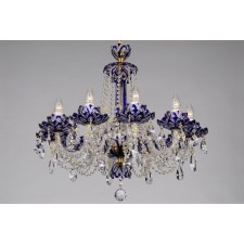 Bohemian BCC10 Blue Crystal Chandelier with Lotus - 10-Light