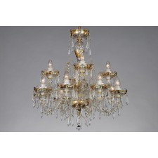 Bohemian BCC12 Gold Crystal Chandelier with U-drops - 12-Light