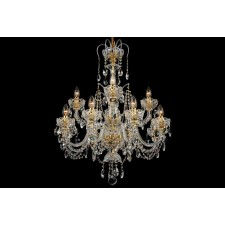 Bohemian BCC12A Colourless Crystal Chandelier with Olive Motif - 12-Light