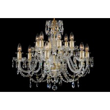 Bohemian BCC12AG Crystal Chandelier with Leaded Chains - 12-Light