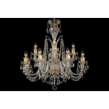 Bohemian BCC12DG Gold Crystal Chandelier - 12-Light