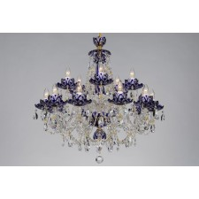Bohemian BCC15 Blue Crystal Chandelier with Lotus - 15-Light