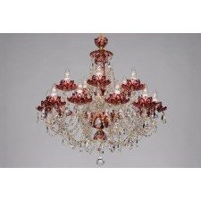 Bohemian BCC15 Red Crystal Chandelier with Lotus - 15-Light