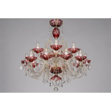 Bohemian BCC15SP Red Crystal Chandelier with Swarovski Trimmings - 15-Light