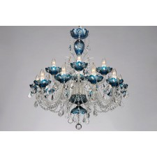 Bohemian BCC15SPS Azure Crystal Chandelier with Swarovski Trimmings - 15-Light