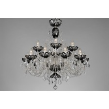 Bohemian BCC15SPS Black Crystal Chandelier with Swarovski Trimmings - 15-Light