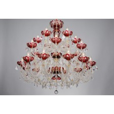 Bohemian BCC24SP Red Crystal Chandelier with Swarovski Trimmings - 24-Light
