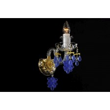 Bohemian W-01V Crystal Wall Light with Grape-shaped Trimmings - 1-Light