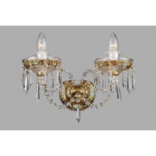Bohemian W-02 Crystal Wall Light with Flower Motif - 2-Light