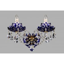 Bohemian W-02 Blue Crystal Wall Lamp with Lotus - 2-Light