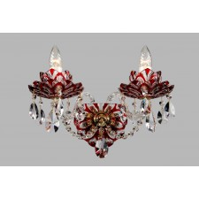 Bohemian W-02 Red Crystal Wall Lamp with Lotus - 2-Light