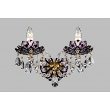 Bohemian W-02 Violet Crystal Wall Lamp with Lotus - 2-Light