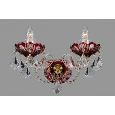 Bohemian W-02SP Red Crystal Wall Light with Swarovski Trimmings - 2-Light