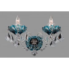 Bohemian W-02SPS Cyan Crystal Wall Light with Swarovski Trimmings - 2-Light