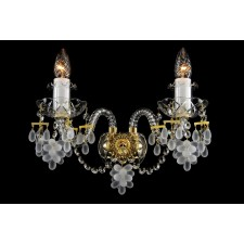 Bohemian W-02V Crystal Wall Light with Grape-shaped Trimmings - 2-Light