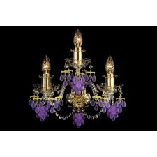 Bohemian W-03VG Gold Crystal Wall Lamp with Grape-shaped Trimmings - 3-Light