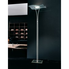 Berlino Floor Lamp - 1 Light, Chrome, Sandblasted Crystal Glass