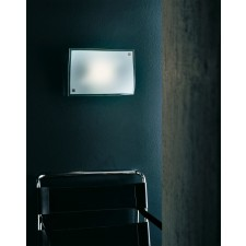 Berlino Flush Wall Lamp - 1 Light, Chrome, Sandblasted Crystal Glass