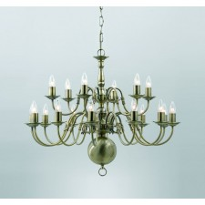 Impex Flemish Chandelier Antique Brass - 18 Light