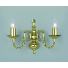 Impex Flemish Wall Light Polished Brass - 2 Light
