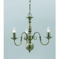 Impex Flemish Chandelier - 3 Light, Antique Brass