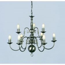 Impex Flemish Chandelier Pewter - 9 Light