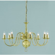 Impex Flemish Chandelier Polished Brass - 8 Light