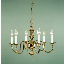 Impex Ghent Chandelier Cast - 6 Light, Brass Plate & Gold Plate