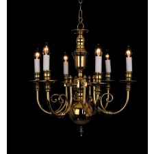 Impex Beveren Chandelier - 6 Light, Polished Brass and Gold
