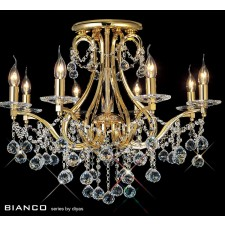 Diyas Bianco Crystal Ceiling 8 Light Gold Plated