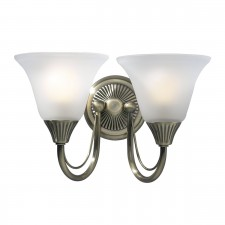Boston Wall Light (Switched) - 2 Light Antique Brass