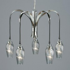 Interiors1900 Lily 5 Light Chandelier, Smoked Blue Glass