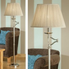 Interiors1900 Stanford Nickel Swing Arm Floor Lamp, Beige