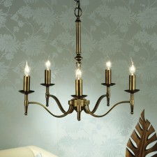 Interiors1900 Stanford Brass 5-Light Brass Chandelier
