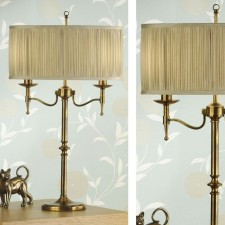 Interiors1900 Stanford Brass Table Lamp, Beige