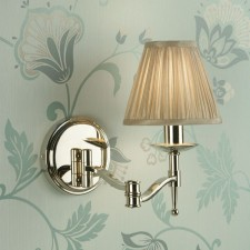 Interiors1900 Stanford Nickel Swing Arm Wall Light, Beige