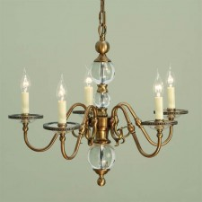 Interiors1900 Tilburg Antique Brass 5-Light Chandelier