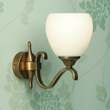 Interiors1900 Columbia Brass Single Wall Light, Opal Glass