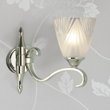 Interiors1900 Columbia Nickel Single Wall Light, Deco Glass