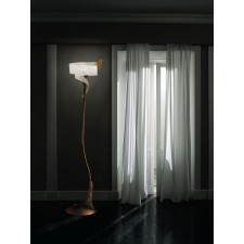 Capri Floor Lamp - 1 Light, Antique Brown, Amber Glass