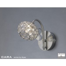 Diyas Cara Wall Lamp 1 Light Satin Nickle/Crystal Switched