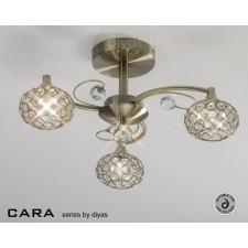 Diyas Cara Semi Flush 3 Light Antique Brass/Crystal