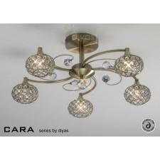 Diyas Cara Semi Flush 5 Light Antique Brass/Crystal