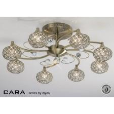 Diyas Cara Semi Flush 8 Light Antique Brass/Crystal