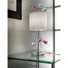 Carrara Table Lamp - 1 Light, Polished Chrome, White Shade